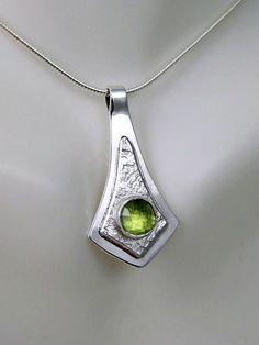 Silver Peridot Necklace Peridot Pendant Green Stone Pendant
