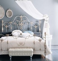 blue white a bedrooms | your home silvery blue meets white in this elegant fairytale bedroom ...