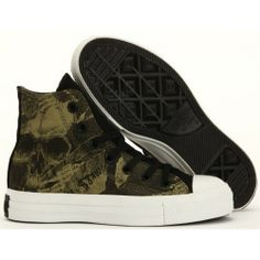 Converse Shoes Black New Design-Grey Skull Limited Edition Chuck Taylor Canvas Hi Sneakers - €57.95 : z9z6