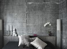 Fortunately, capturing that vibe in more genteel surroundings isn't as hard now, thanks to Norwegian photographer Tom Haga's ConcreteWall wallpaper. The heavy duty vinyl wallpaper is available in 36 different high-resolution concrete images shot by Haga—there are also a few attic- and wood-inspired papers for a more rustic look. The patterns don't repeat, keeping the illusion alive, and each one can be colored, lightened, or darkened upon request.