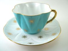 Antique SHELLEY Tea Cup And Saucer, Turquoise and white tea cup and saucer, Gold snowflakes tea cup set, Shelley china tea cup.