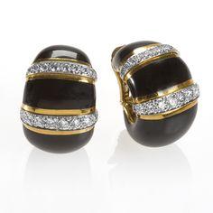 David Webb Earrings  Platinm, 18 karat Gold, Enamel and Diamond Earrings.  Available exclusively at Macklowe Gallery.