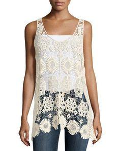 TCFM0 Romeo & Juliet Couture Floral Crochet Sleeveless Top, Beige