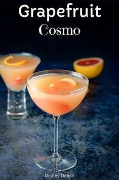 Brunch Drinks, Fruity Cocktails, Fancy Drinks, Cocktail Drinks, Yummy Drinks, Cosmo Cocktail, Easy Vodka Drinks, Grapefruit Juice Cocktail, Cosmopolitan Drink