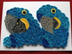 3D Parrot Card Hyacinth Macaw Quilled Parrot by Quillextra on Etsy