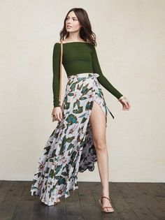 Show some leg this season with a high-slit maxi skirt!