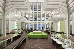 """This """"garden"""" room in Germany's MTV headquarters mimics your favorite palm-covered patio.  Über-cool."""