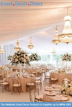 Event Decor Direct's Empire Chandeliers are perfect for event designers that want to add some sparkle to their decor. The premium quality acrylic crystals keep them lightweight and affordable. We have many different styles, sizes and colors available. And most chandeliers ship free when your order totals $99 or more. Shop Now at EventDecorDirect.com Wedding Set Up, Tent Wedding, Chic Wedding, Elegant Wedding, Wedding Table, Floral Wedding, Wedding Colors, Wedding Flowers, Wedding Reception