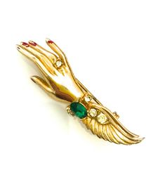 Coro Lady's Hand Brooch 1940s Gold Tone Green and Clear