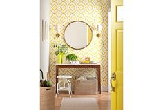 Decorating with citrus colours can bring life to any room. Take decor inspiration from your favourite fruit. Citrus colours, specifically, add a dose of tang to any room. Vestibule, Hgtv, Mudroom, Budget, Mirror, Furniture, Home Decor, Entrance, Tips