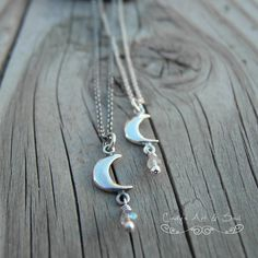 Crescent Moon Charm Necklace Sterling Silver by ArtandSoulJewelry