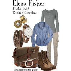 """""""Elena Fisher (Uncharted 3: Drake's Deception)"""" by a-fangirl-clad-in-plaid on Polyvore"""