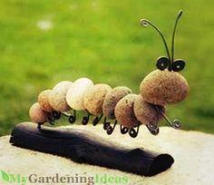 A DIY rock caterpillar
