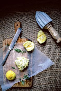 lemon rosemary butter.  Re-pinned by www.DianesOils.com  Another recipe to try my oils on. Yummy.  #rosemary #lemon #homemadebutter.  :)