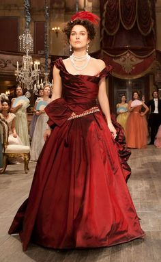 Keira Knightley's crimson dress and pearls in the title role of Anna Karenina. (2012)