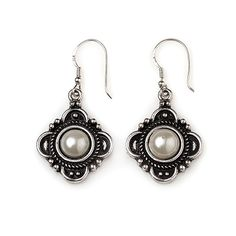 """-CAROLINA- """"Decorative antique silver surrounds white pearls on these elegant earrings that wear well with the Savannah Blue or the attractive Madison necklace."""" $18"""