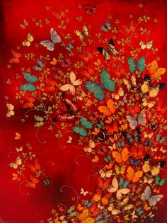 Red butterfly collage painting