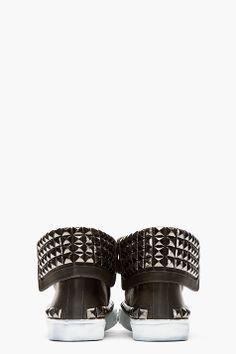 JIMMY CHOO Black Leather Studded Spencer Sneaker