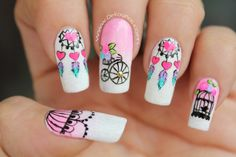 Deko uñas by diana diaz Crazy Nail Art, Crazy Nails, Cute Nail Art, Gel Nail Art, Fun Nails, Pretty Nails, Acrylic Nails, Feather Nails, Vintage Nails