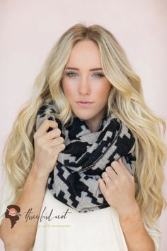 Infinity Scarf, Checkered, Black Cute Scarf, Houndstooth, Woven Infinity Scarf, Loop Scarf in Black (SCF-67) on Etsy, $38.00