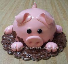 Great Image of Pig Birthday Cake Pig Birthday Cake Coolest Pig Cake Pig Cakes Cake Pig Birthday Cakes Birthday Cake Crazy Cakes, Fancy Cakes, Cute Cakes, Fondant Figures, Fondant Cakes, Cupcake Cakes, Pig Cupcakes, Piggy Cake, Pig Birthday Cakes