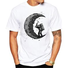 Moon Man Print Design T Shirt Men's High Quality Custom Printed Tops