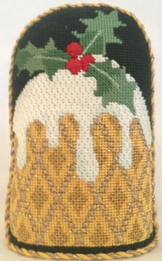 Plum Pudding Gold Needlepoint Stand-Up by Kirk & Bradley