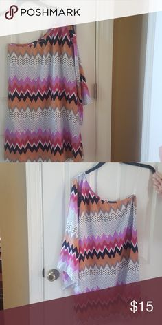 Chevron dress Chevron one shoulder dress Dresses One Shoulder