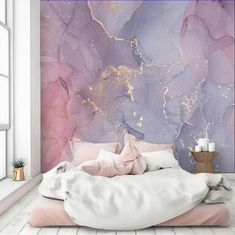 Abstract Wallpaper Pink Purple Gold Watercolor Art Peel and Stick Large Wall Mural Self Adhesive Acc