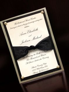 Classy black and white wedding invitation by SouthernRoseDesign.