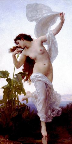 William Adolphe Bouguereau,  Aurora (Dawn)    Aurora is the Latin word for dawn, the goddess of dawn in Roman mythology.    In Roman mythology, Aurora, goddess of the dawn, renews herself every morning and flies across the sky, announcing the arrival of the sun.