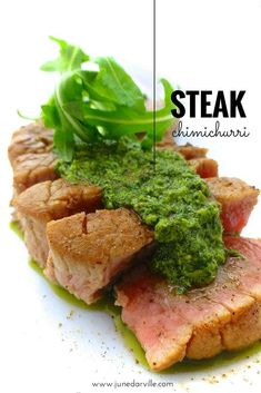 A juicy fat steak with chimichurri sauce. Some ingredients are just made for each other! Sliced steak with a fresh parsley and cilantro sauce... How delicious!
