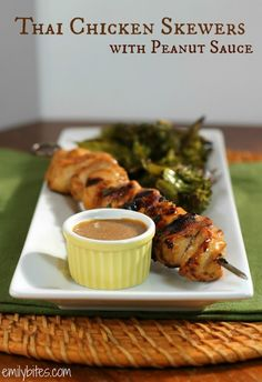 Thai Chicken Skewers with Peanut Sauce - this PB2 peanut sauce is to die for! A skewer with sauce is just 220 calories or 5 Weight Watchers SmartPoints. Low carb! www.emilybites.com