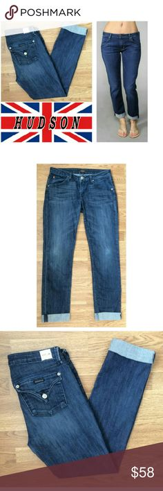 "Bacara crop straight cuffed Hudson jeans These gorgeous Hudson jeans are perfect for dressing up a casual occasion! Cotton blend with 2% spandex for stretch fit. the 5 pocket style, medium royal blue wash, button clasp back pockets, cuffed bottoms. Size 28, 28"" inseam. Hudson logo on front pocket and right back pocket. NWOT, UNUSED, NO DAMAGES. Grab yours for less and looking stunning in Hudson jeans! Hudson Jeans Jeans"