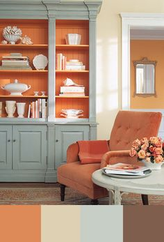 Did you know that the color Orange will actually give you the feeling of Creativity and Inspiration? Im not a fan of orange, but if it is used tastefully like this, I could DEF. see it in my house!! Cool color combinations for your home.  This is a must-pin. Pretty color palettes and tips for decorating with color. entirelyeventfulday.com