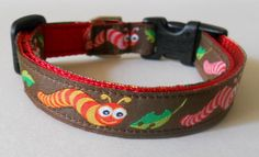 Colorful Inchworm Dog or Puppy Collar by FourPawsJewelry on Etsy