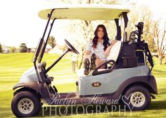 Golf senior picture ideas.  Golf cart  Jaclyn Heward photography