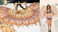 """""""I constructed each of these jeweled panels individually — the entire piece took about five months, including the corset, necklace, and earrings. The panels are plated in 24-karat-gold and copper, and covered with 100,000 individual Swarovski crystals. It weighs around 38 to 40 pounds."""" — Jenny Mercian"""