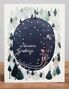 Skiing | Red Cap Cards by Anna Emilia Laitinen