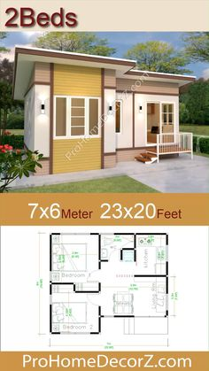House Layout Plans, House Layouts, Small House Plans, Bungalow House Design, Small House Design, Hotel Room Design, 2 Bedroom House Design, Tiny House Hotel, One Storey House