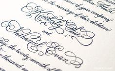 Engraved calligraphy wedding invitations
