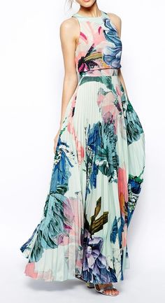 ASOS Pleated Crop Top Maxi Dress.  Love!  Pinned by Afloral.com