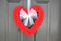 Valentines Day Felt Rosette Wreath