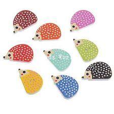 100 Pcs Mixed Wood Sewing Buttons Scrapbooking 2 Holes Hedgehog Shape 25x16mm