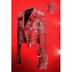 New Men's Full Red Punk Silver Long Spiked Studded Brando Cowhide Leather Jacket #Handmade #PuckRock #Casual Punk Rock Hair, Party Jackets, Punk Jackets, Studded Leather Jacket, Biker Leather, Jacket Style, Jacket Men, Comfortable Fashion, New Wave