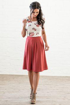 Striped A Line Skirt - MSS18208