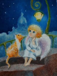 Needlepoint canvas 'Red cat and Christmas Angel' by Irina Kapustina