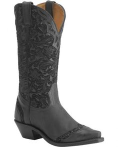 This will be my next pair!!  Boulet Tooled Midnight Cowgirl Boots - Snip Toe