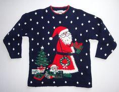Adele Knitwear Womens Ugly Christmas Sweater Size Large Navy Blue Santa Bear #uglychristmassweater