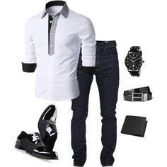 A fashion look from December 2014 featuring button fly jeans, dsquared2 shoes and black wrist watch. Browse and shop related looks.